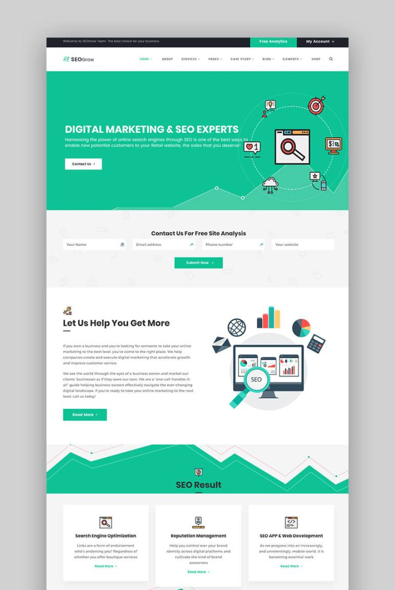 SEO Grow Marketing multipurpose WordPress theme