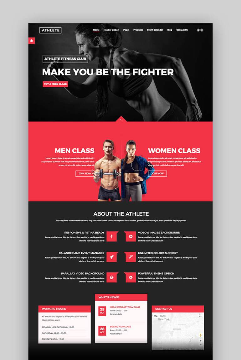 Athlete Fitness WordPress theme