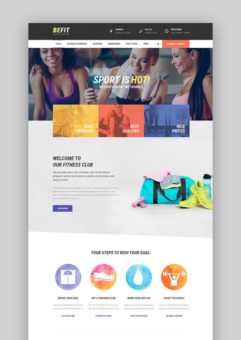 BeFit fitness WordPress theme