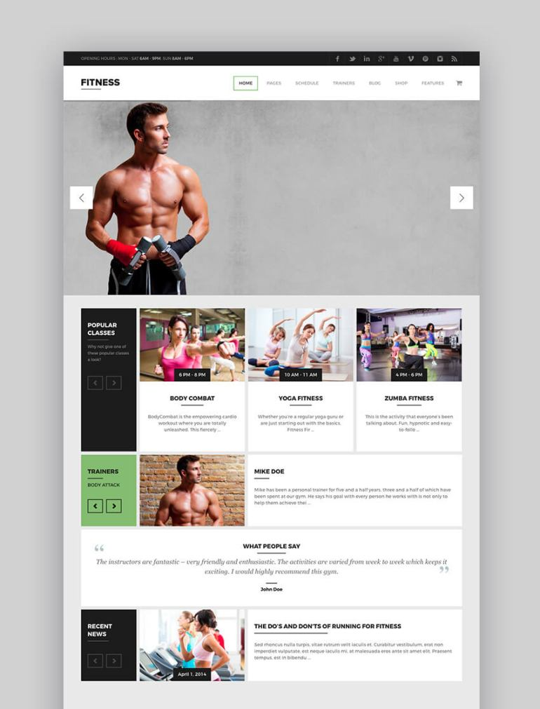 Gym WP fitness WordPress theme
