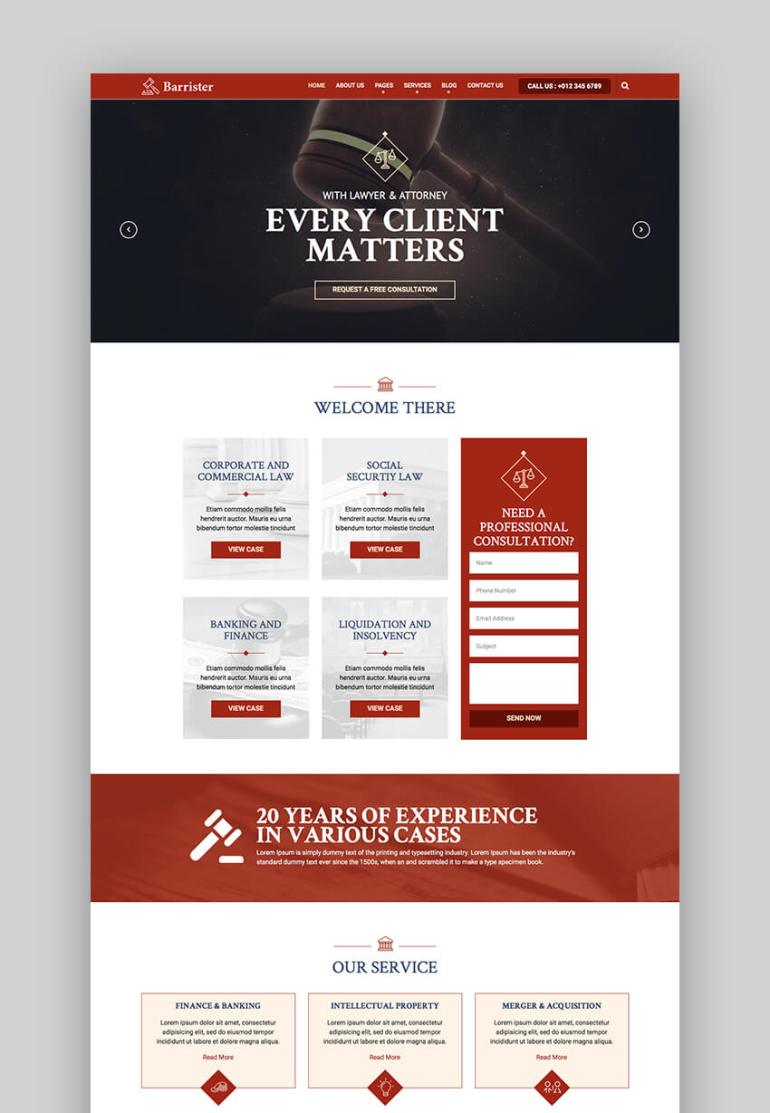 Barrister law firm website template