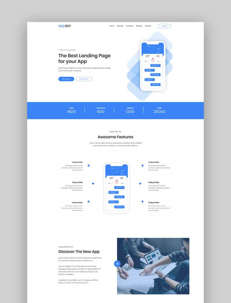 Appscr minimal app landing page template
