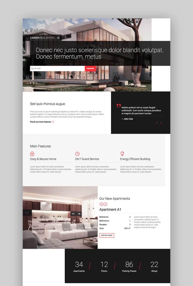 Lander real estate landing page template