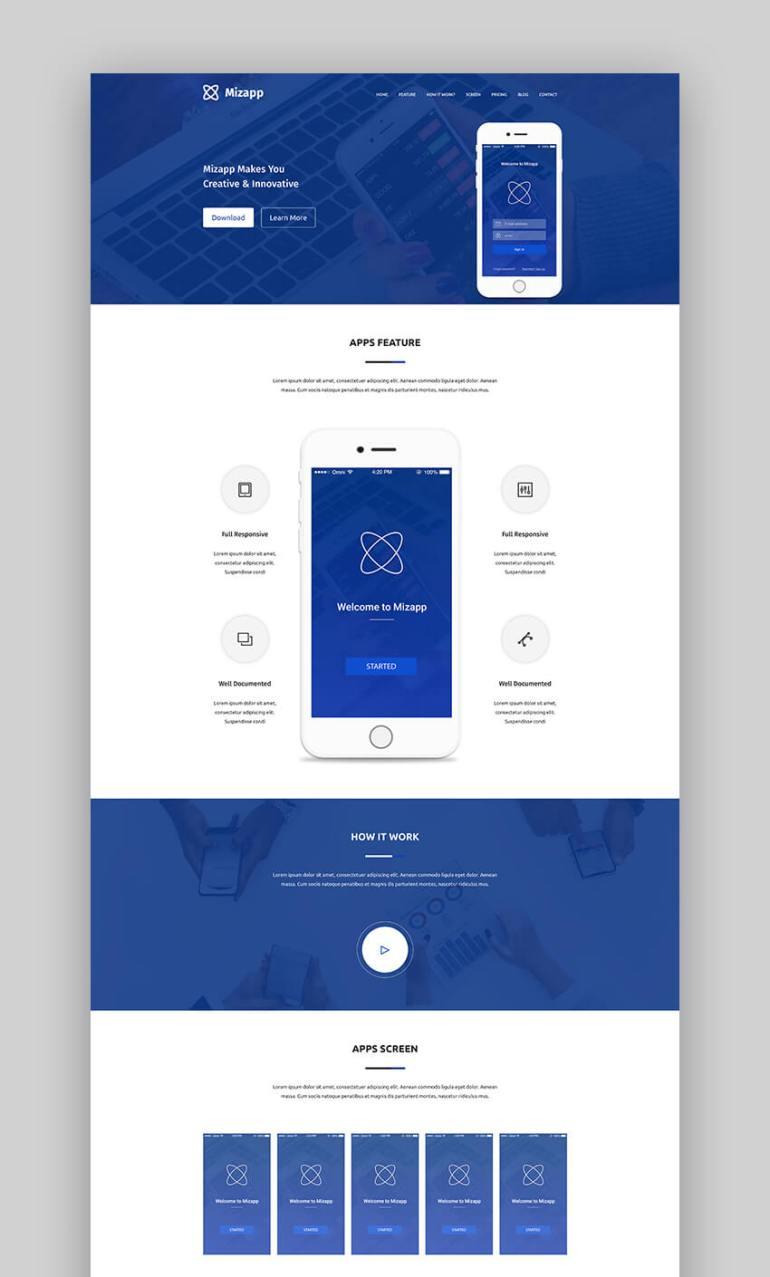 Mizapp creative app landing page template