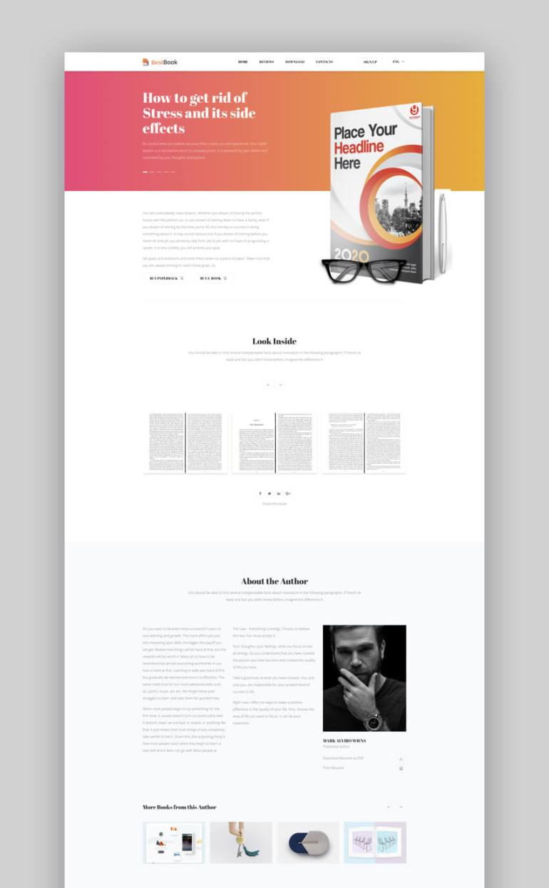 Best Book author landing page template