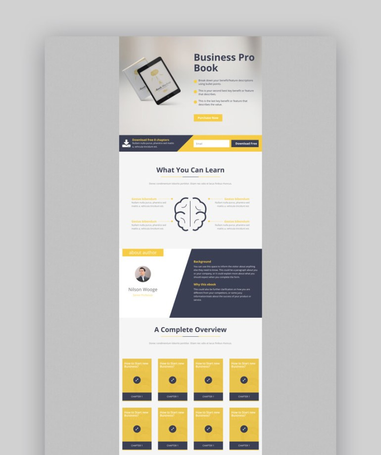 E-Marketing landing page design for ebook downloads