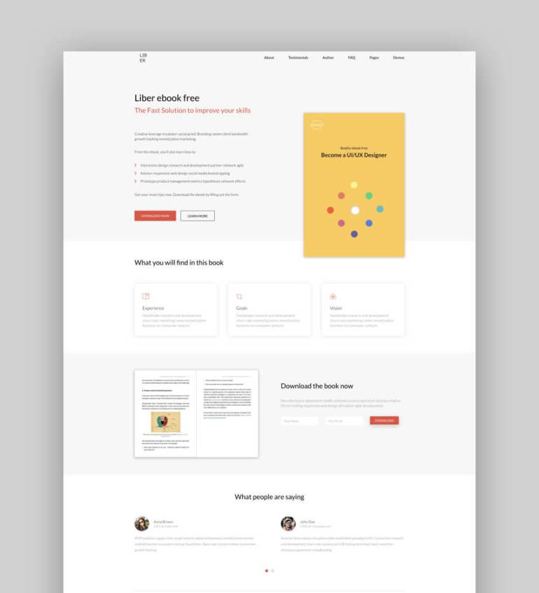 Liber ebook landing page template