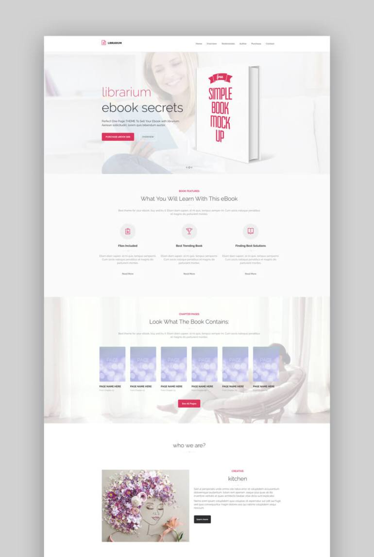 Librarium ebook landing page template