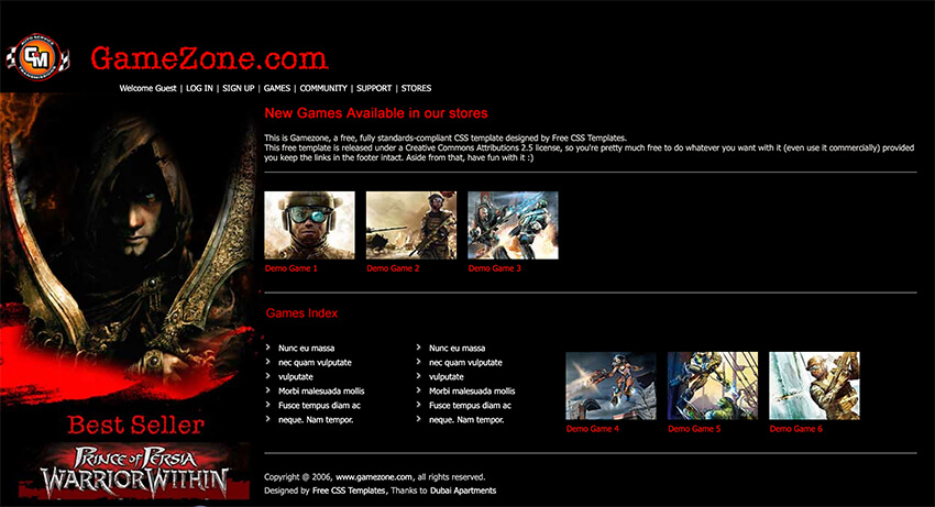 Gamezone Free Website Template