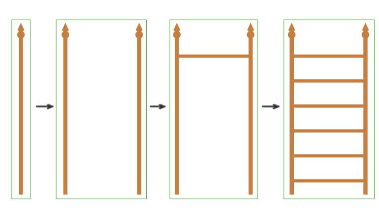 how to create the horizontal parts of the bookshelf