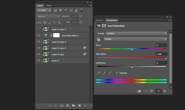 Creation of color distortion effect
