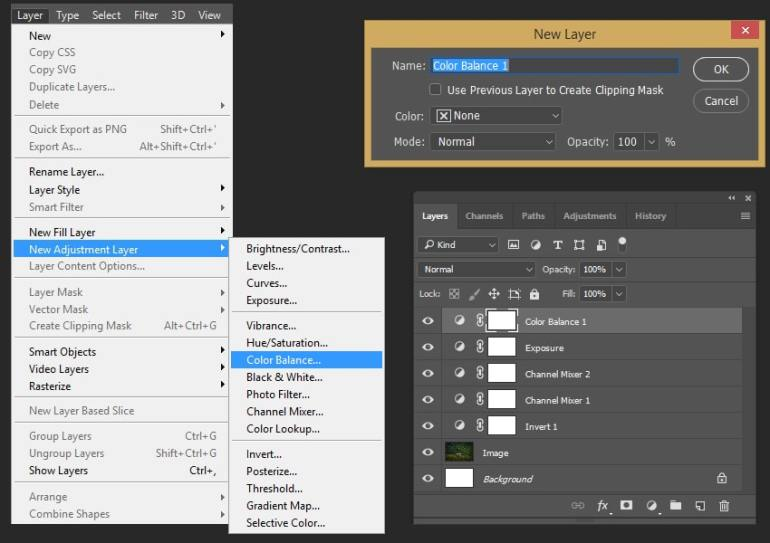 Creating color balance adjustment layer