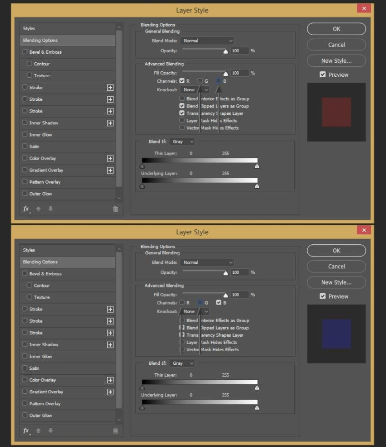 Unchecking the color channels of the layers