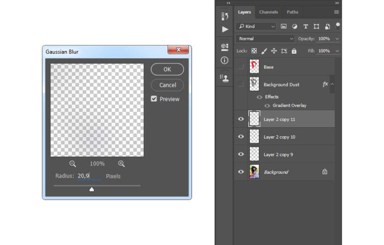 Adding gaussian blur filter to particles layer