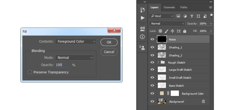 Filling Noise layer with foreground color