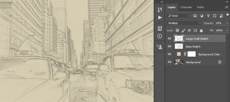 Renaming layer to Large Draft Sketch and changing its opacity