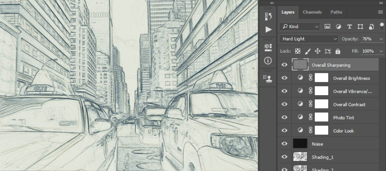 Renaming layer to overall sharpening and changing its blending mode and opacity
