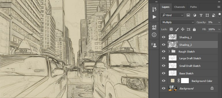 Renaming layer to Shading_2 and changing its blending mode and opacity