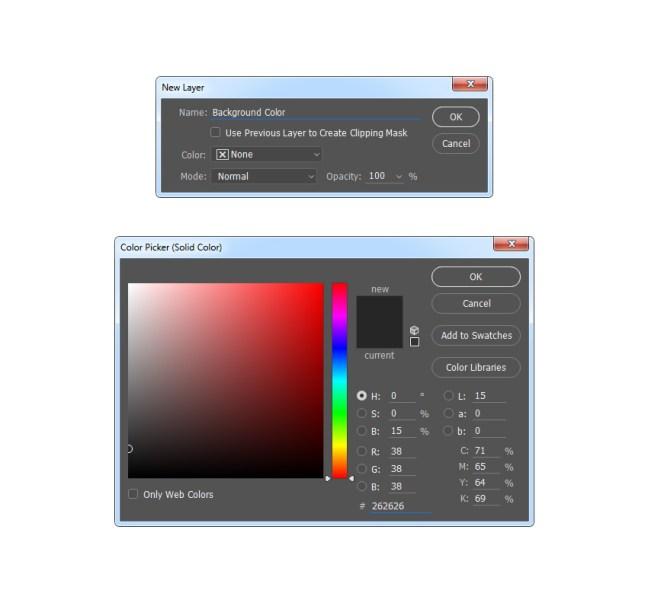 Creación de una capa de relleno de color sólido denominada Color de fondo