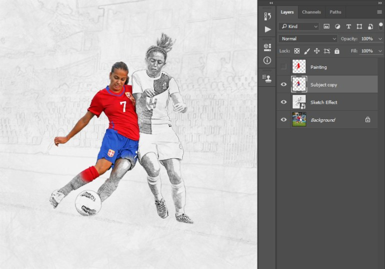 Sharpening desaturating and merging-layers