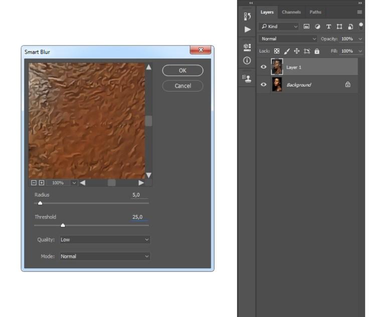 Adding smart blur filter