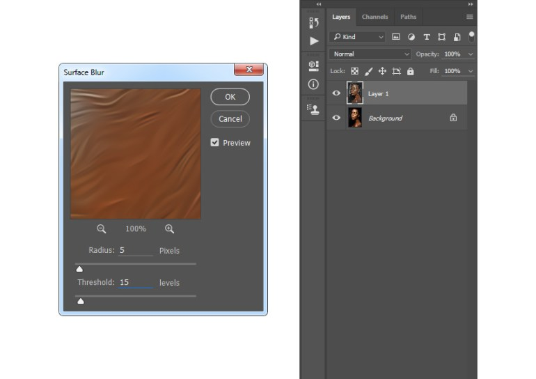 Adding surface blur filter