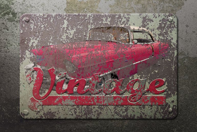 Vintage Metal Sign in Photoshop