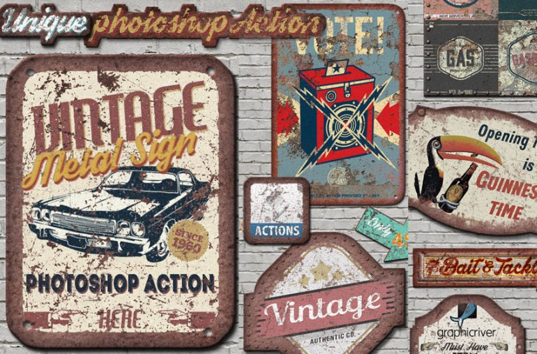 Vintage Metal Sign Photoshop Action