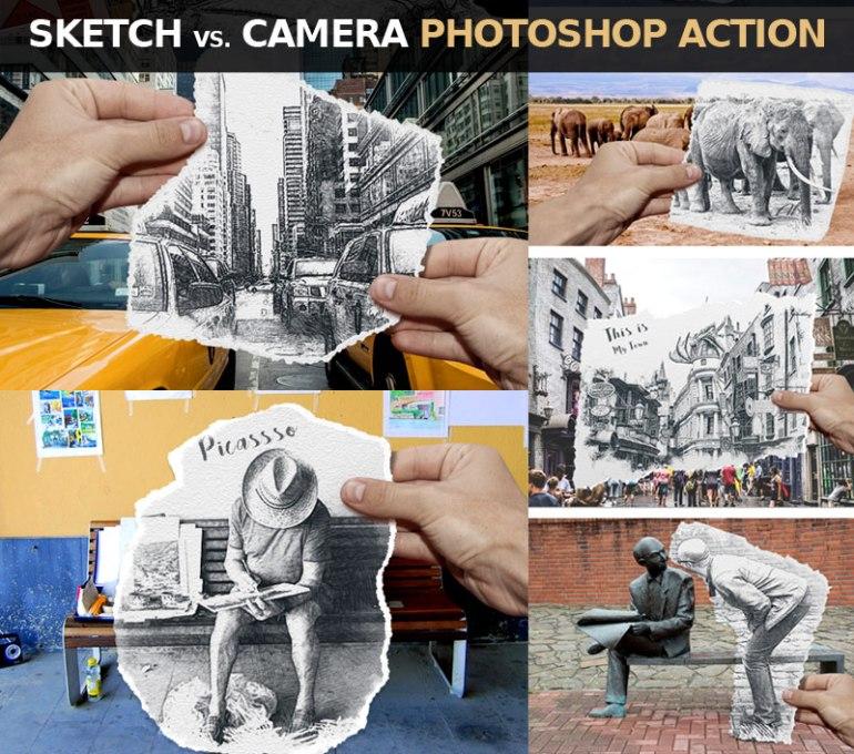 Pencil Sketch vs Camera Photoshop Action
