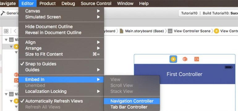 Choosing Navigation Controller from the Editor menu
