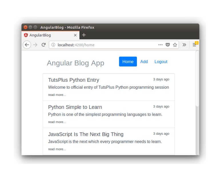Angular Blog App - Dynamic Blog Post Listing