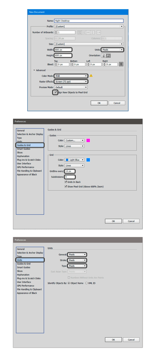 Set Up a Document with a canvas of 800 x 600 px