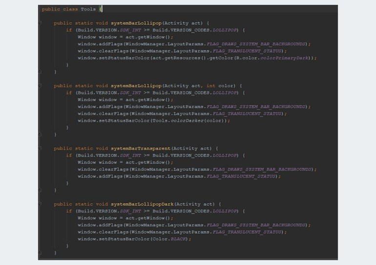 Project methods in Toolsjava