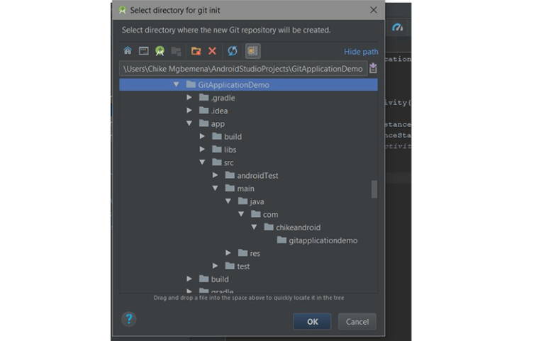 Select project folder in Android Studio