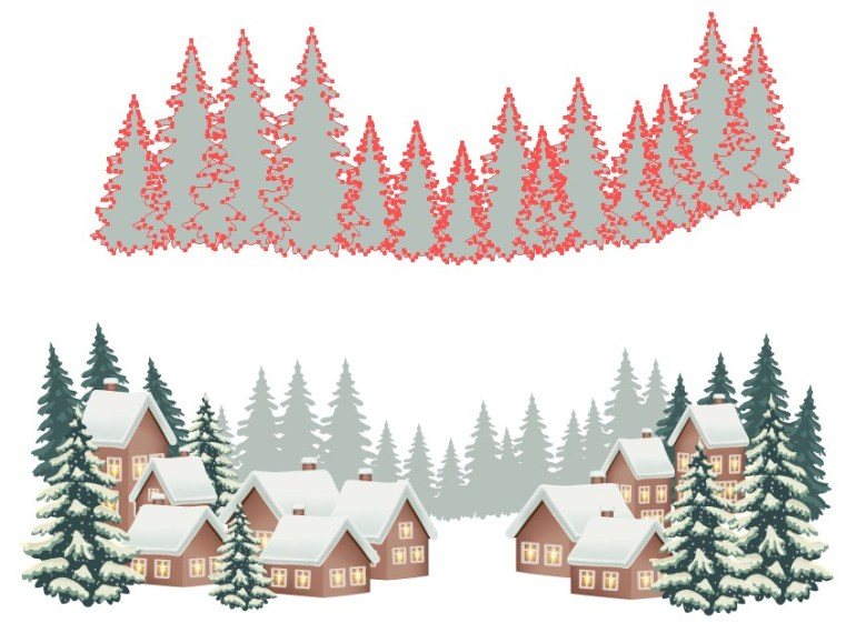 winter background design pine trees