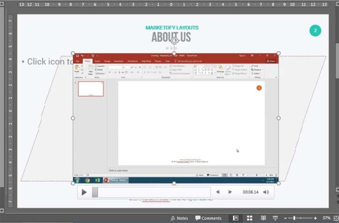 Inserted video into PowerPoint presentation