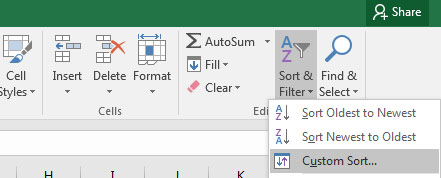 Custom Sort in Excel