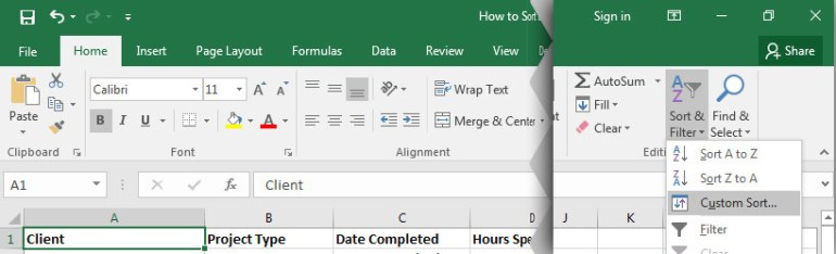 Sort  Filter in Excel