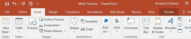 Insert tab PowerPoint ribbon