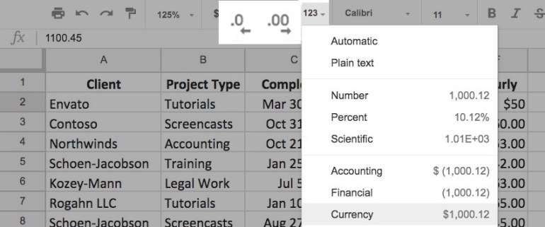 Cell format Google Sheets - change Numeric Cell Styles