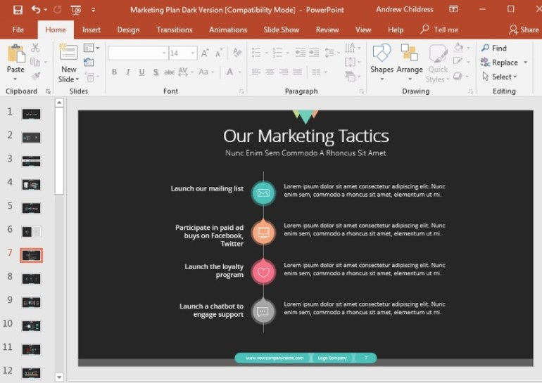 Marketing Tactics Slide Example