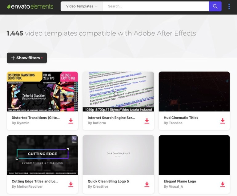 Envato Elements Best in Class Web Videos