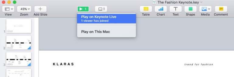Play on Keynote Live option