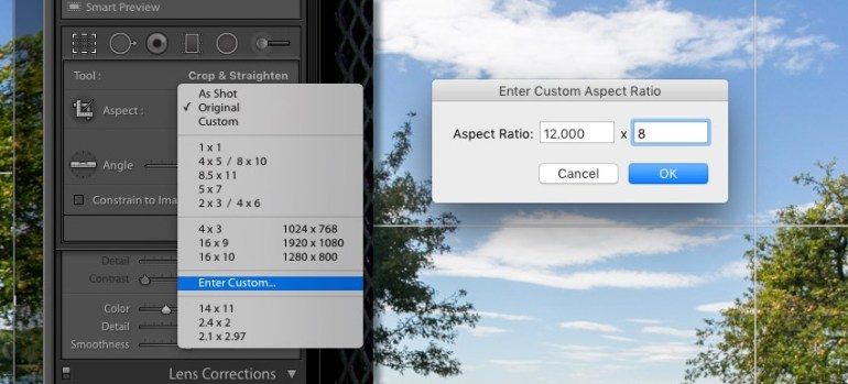 Set Cropping Ratio Lightroom