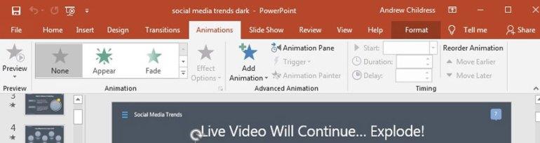 PowerPoint ribbon example