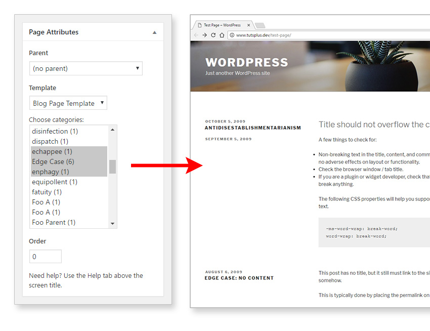 An example of dynamic page templates