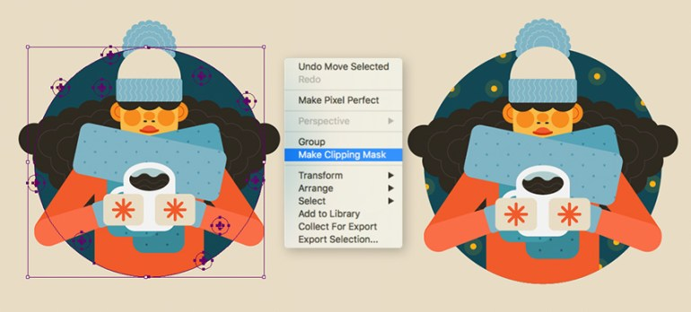 Hiding of the stars under a clipping mask