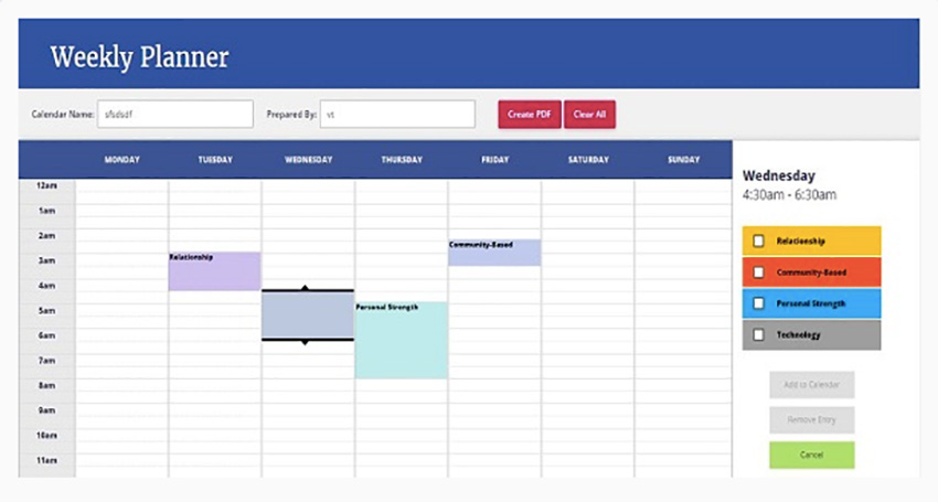 Weekly Planner using AngularJS