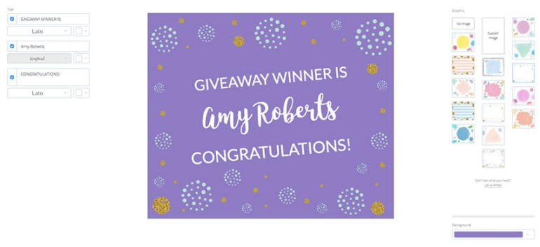 Giveaway Winner Announcement for FB