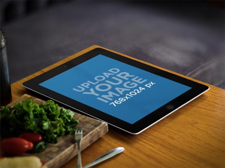 iPad Mockup Black Device on Bistro Table